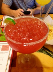 My HUGE Strawberry Margarita! Brent's was equally huge Lime!