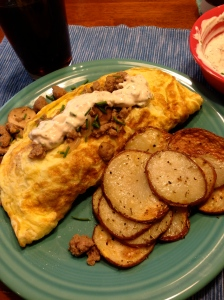 Our monster omelet & potatoes breakfast! I also brewed coffee the night before and refrigerated overnight for our drink!