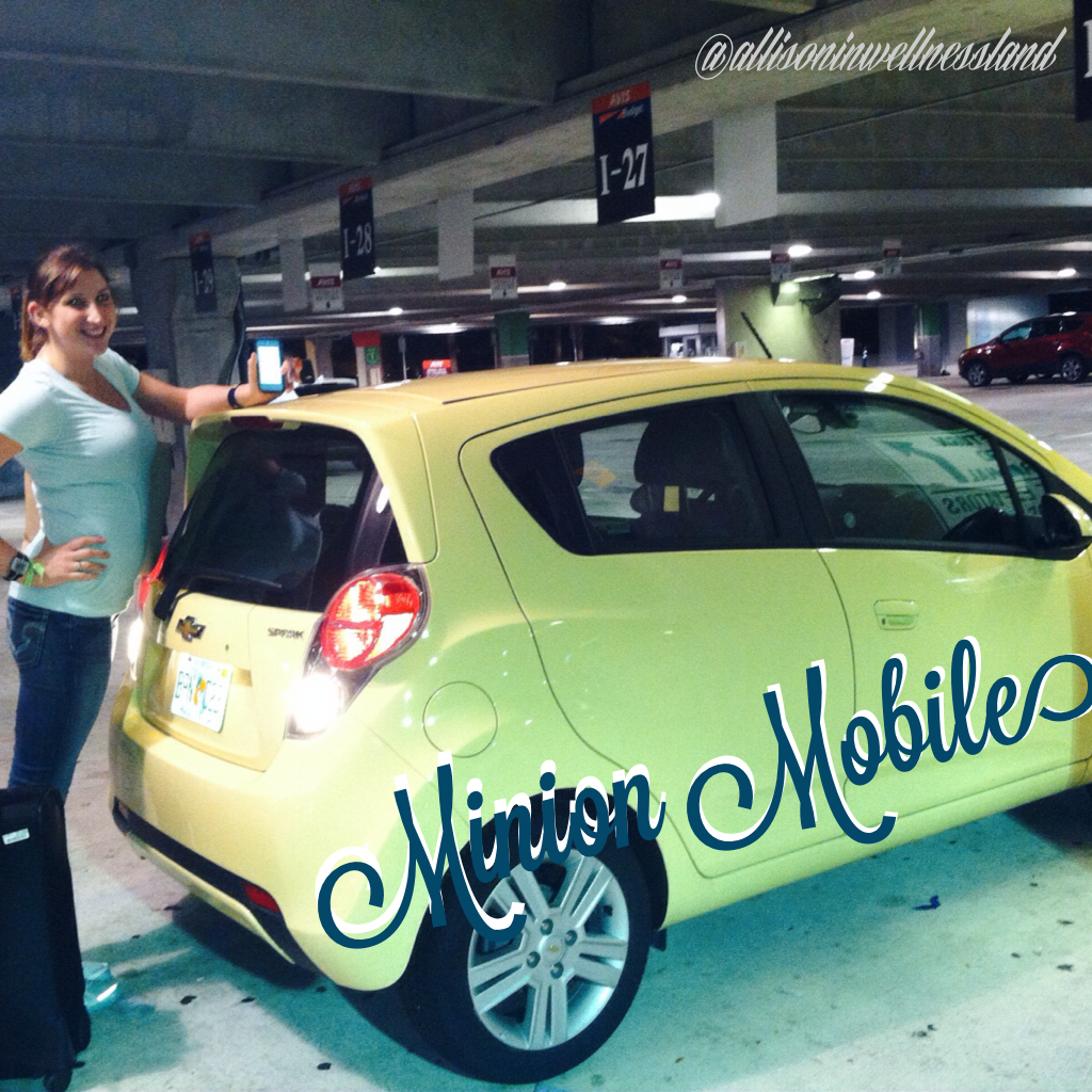 Me & the Minion Mobile... Our Chevy Spark Rental car for the weekend. **please take zero offense to my joking about this vehicle if you own or adore them!**