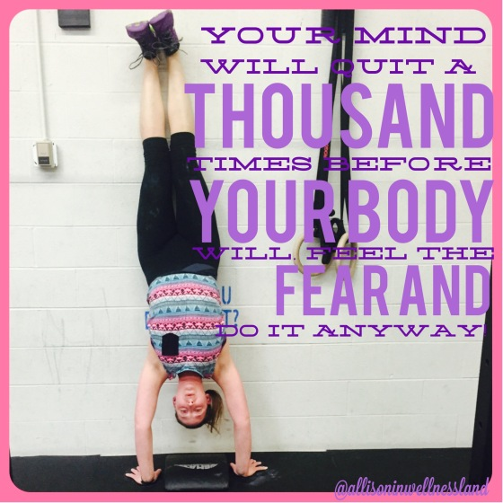 Finally being able to overcome my fear of falling during a handstand during open gym on Saturday! (x3!!!)
