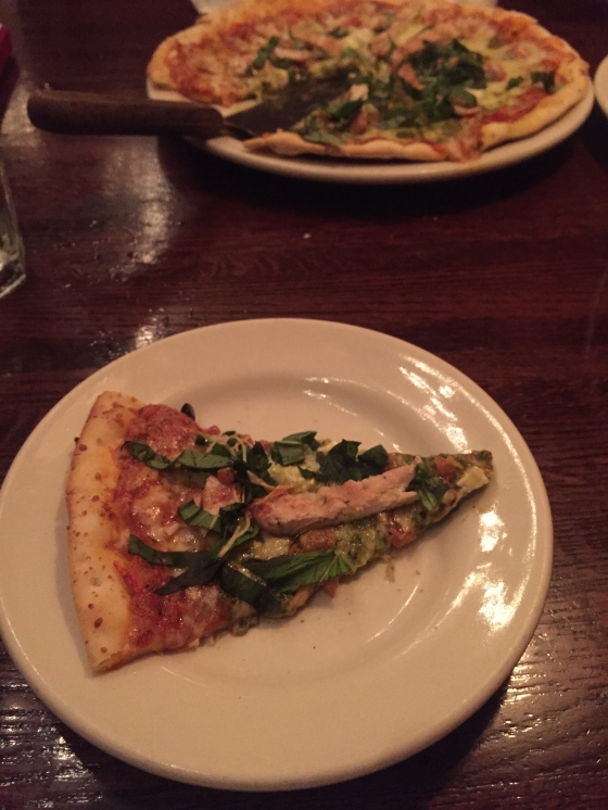 Meeting up with our friend Ben for dinner in Aurora & eating a delicious chicken pesto pizza.